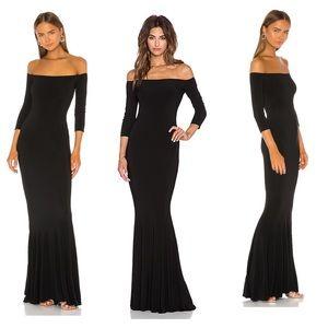 NWT Norma Kamali black velvet off shoulder gown